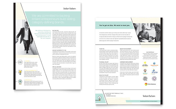 Venture Capital Firm Datasheet Template Design