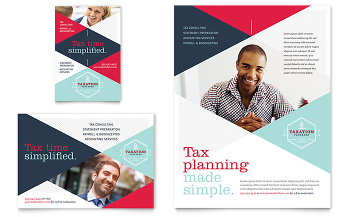 Tax preparer flyer ad template design for Free bookkeeping brochure templates