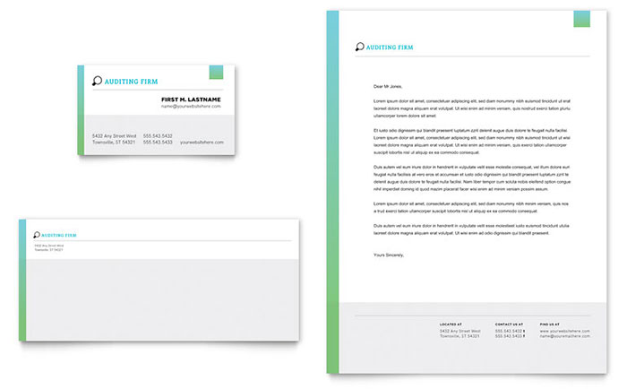 Auditing firm business card letterhead template design for Free letterhead templates for mac
