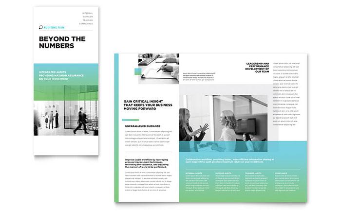 auditing firm tri fold brochure template design. Black Bedroom Furniture Sets. Home Design Ideas