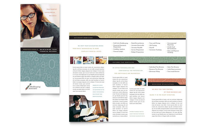 Bookkeeping & Accounting Services Tri Fold Brochure Template Design