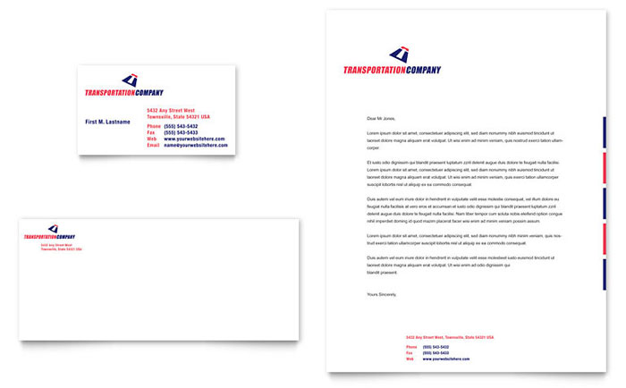 Transportation Company Business Card and Letterhead Template Design – Business Letter Heading Template
