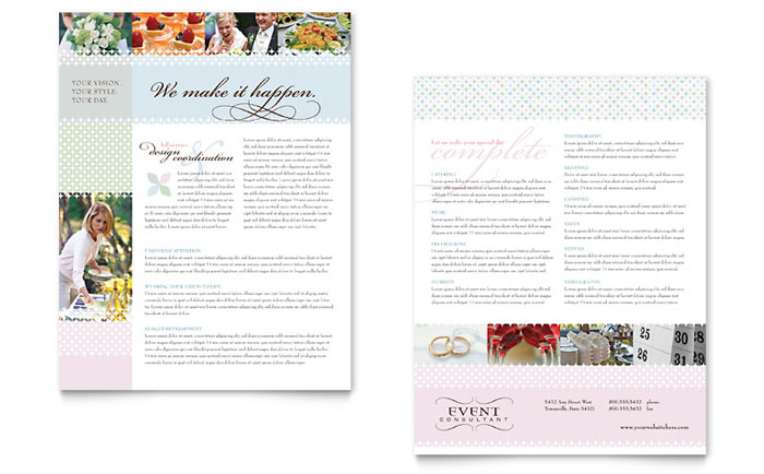 Wedding & Event Planning Datasheet Template Design