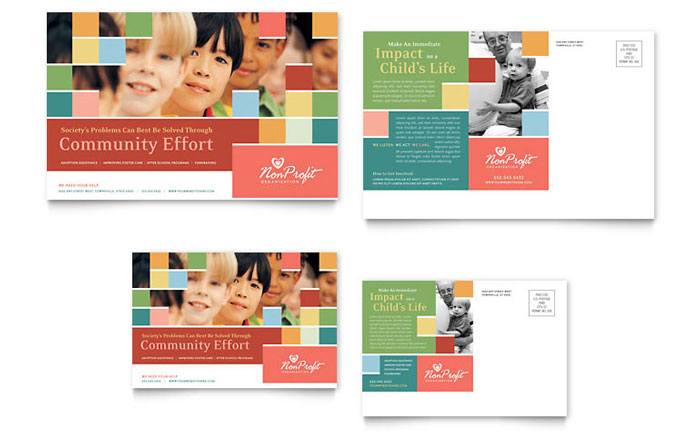 Non Profit Association For Children Postcard Template Design