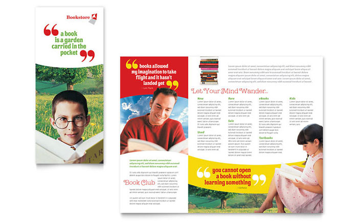bookstore  u0026 library brochure template design