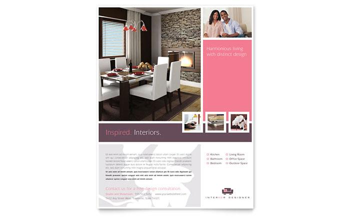 Interior designer flyer template design for Interior design brochure template free