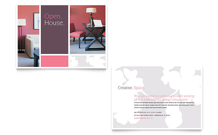 Interior designer announcement template design for Interior design layout templates free
