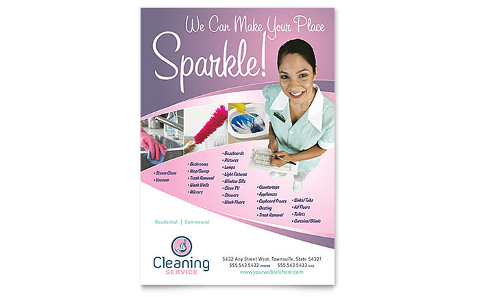 ironing service flyer template - house cleaning maid services flyer template design