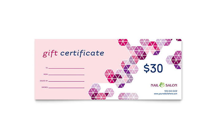 Nail salon flyer coupon for Haircut gift certificate template