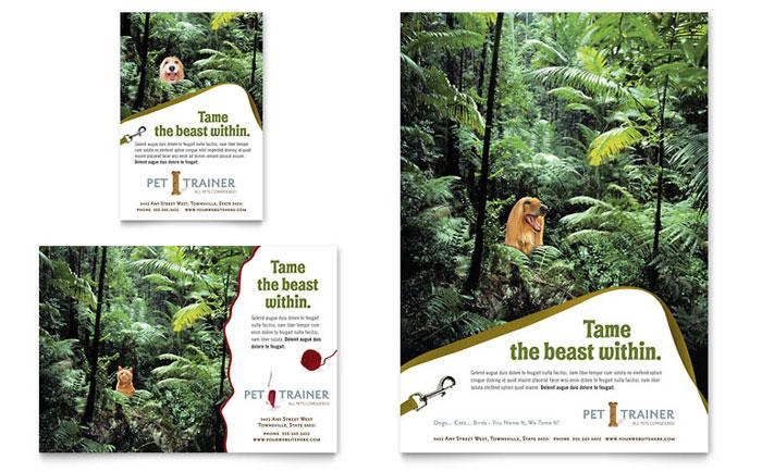 Pet Training & Dog Walking Flyer Template Design Flyer & Ad