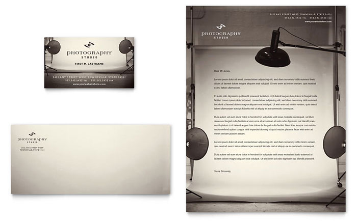 Photography Studio Business Card & Letterhead Template Design