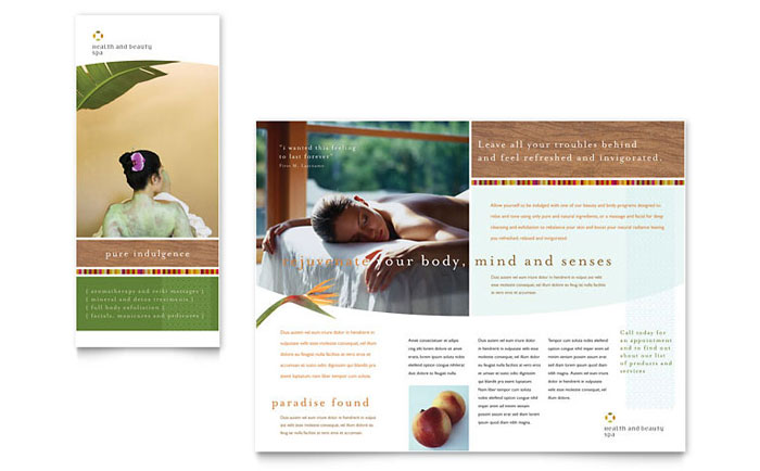 Health beauty spa brochure template design for Free spa brochure templates