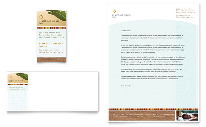 health  u0026 beauty spa business card  u0026 letterhead template design