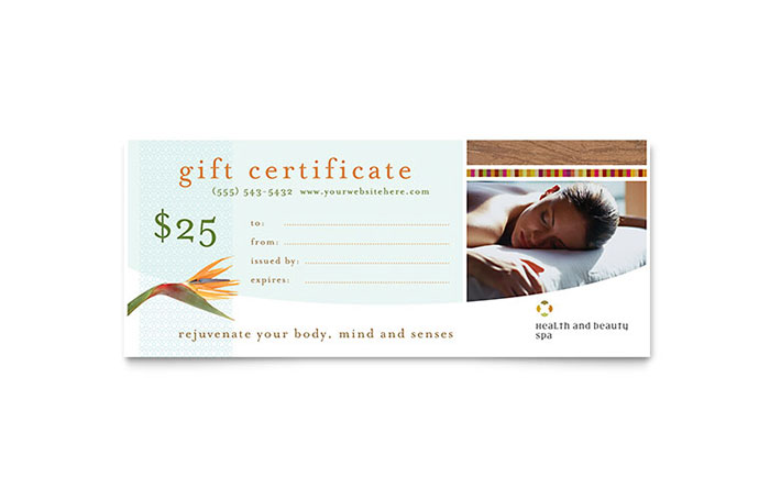 health beauty spa gift certificate template design. Black Bedroom Furniture Sets. Home Design Ideas
