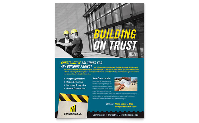 Industrial Amp Commercial Construction Flyer Template Design