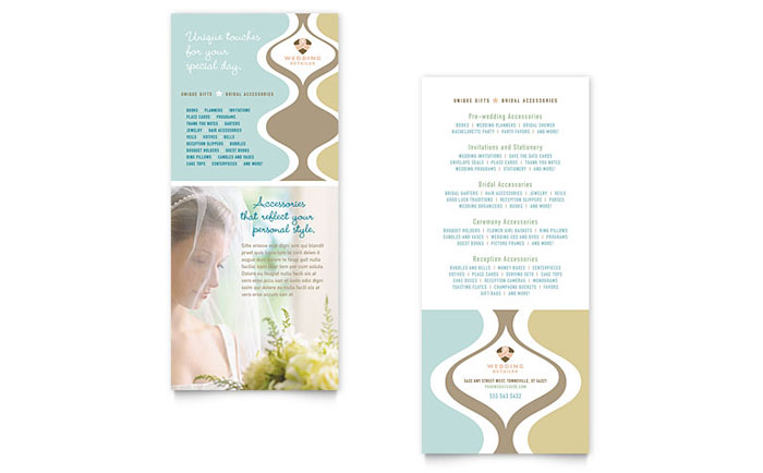 Wedding Store & Supplies Rack Card Template Design