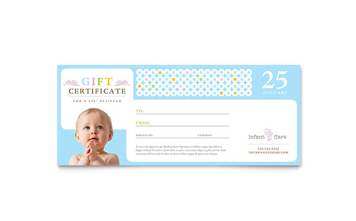 Baby Gift Voucher Template : Infant care babysitting gift certificate template design