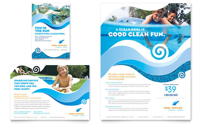 Swimming Pool Cleaning Service Flyer Ad Template Design