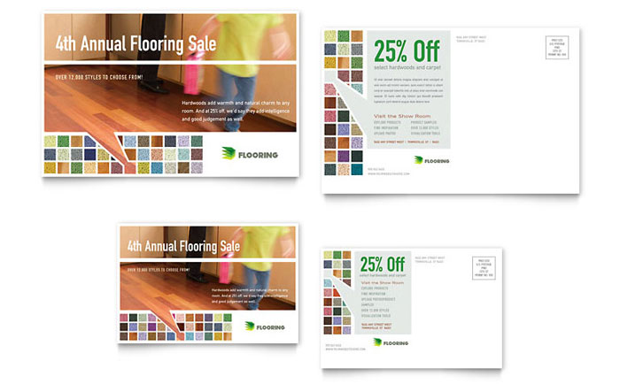 Carpet Amp Hardwood Flooring Postcard Template Design