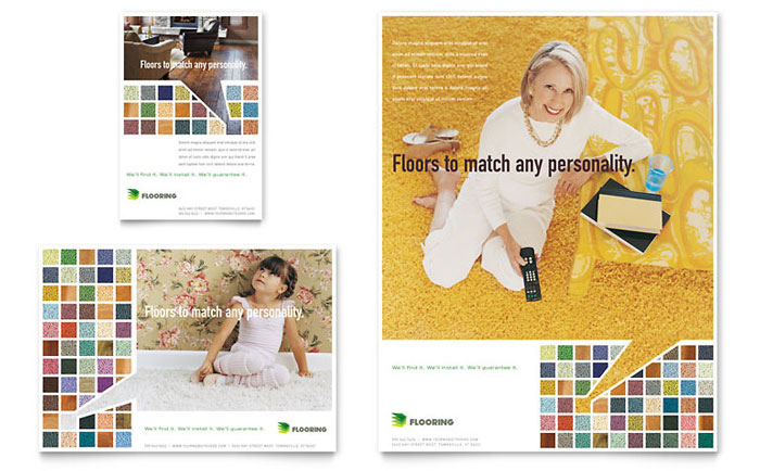 Carpet & Hardwood Flooring Flyer & Ad Template Design
