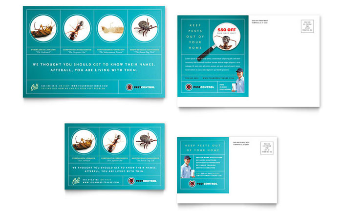 Pest Control Services Postcard Template Design