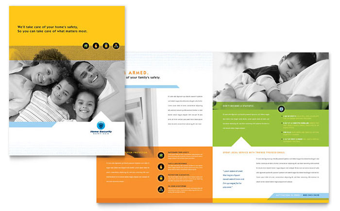 Security Guard Tri Fold Brochure Template Design – Brochure Design Idea Example