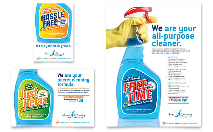 House Cleaning amp Housekeeping Flyer Ad Template Design