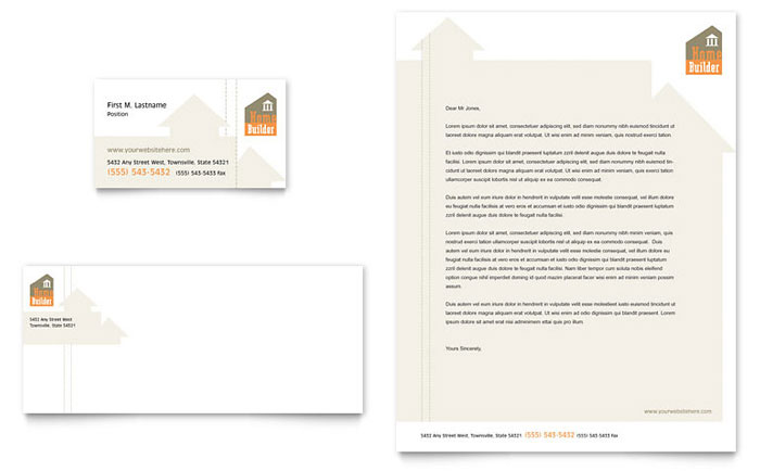 Home Building Carpentry Business Card & Letterhead Template Design