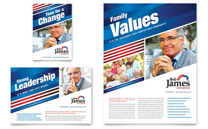 Sample of Campaign Flyers http://www.stocklayouts.com/Templates/Flyer-Ad/Political-Campaign-Flyer-Ad-Template-Design-GO0020701.aspx
