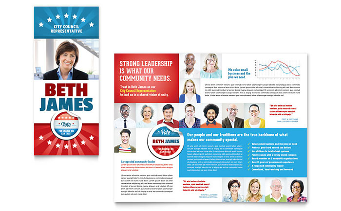 Political candidate brochure template design for Campaign literature templates