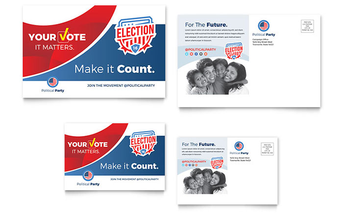 Election postcard template design for Political brochure templates