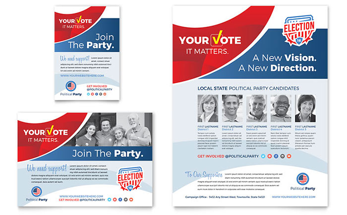 Election flyer ad template design for Political brochure templates