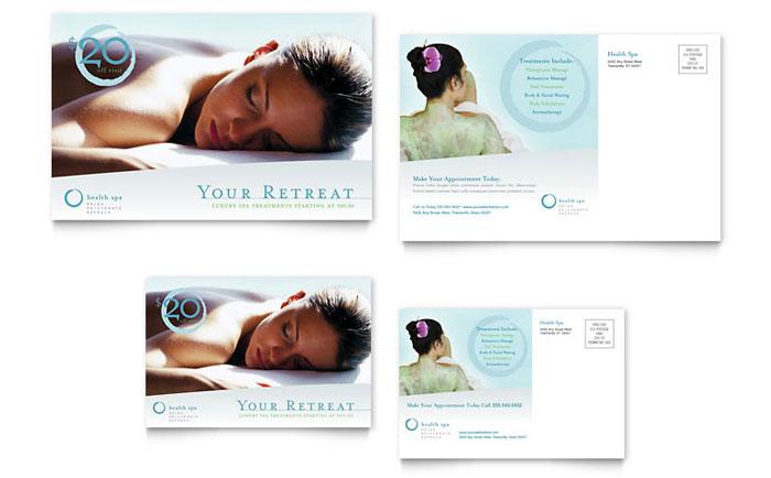 day spa  u0026 resort postcard template design