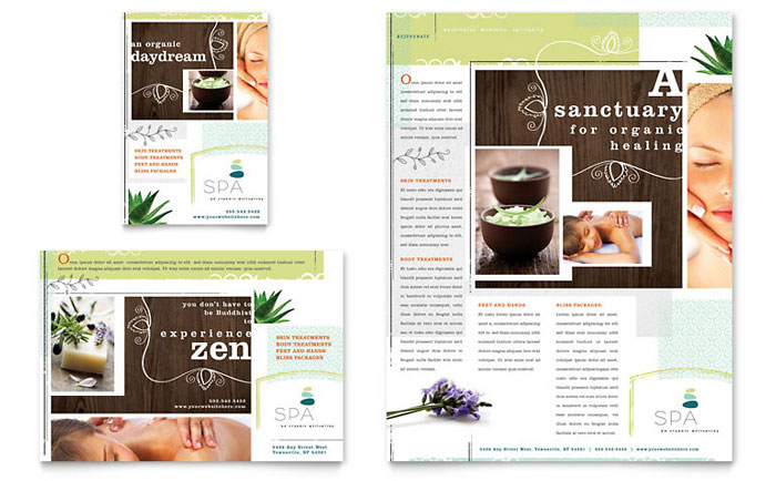 Day spa flyer ad template design for Massage brochure template