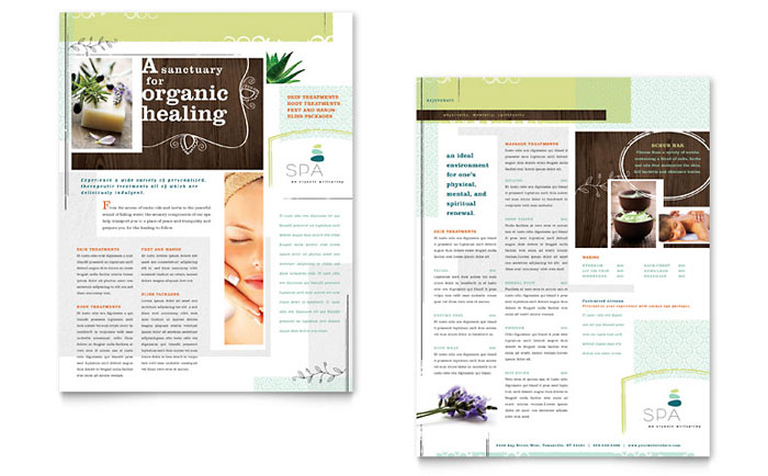 Day Spa Datasheet Template Design