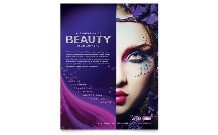 makeup artist business card letterhead template design