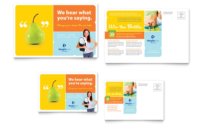 Weight loss clinic postcard template design for 6x4 postcard template