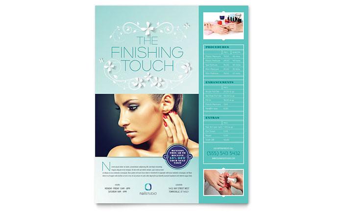 nail technician flyer template design