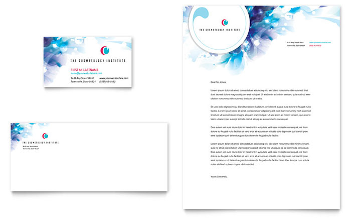 Cosmetology Business Card & Letterhead Template Design