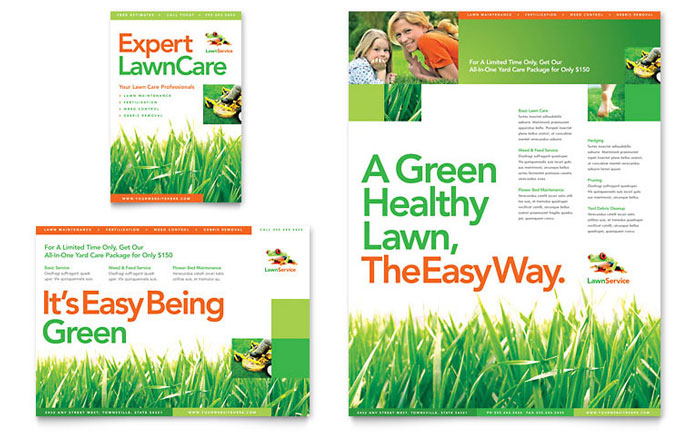 lawn maintenance flyer  u0026 ad template design
