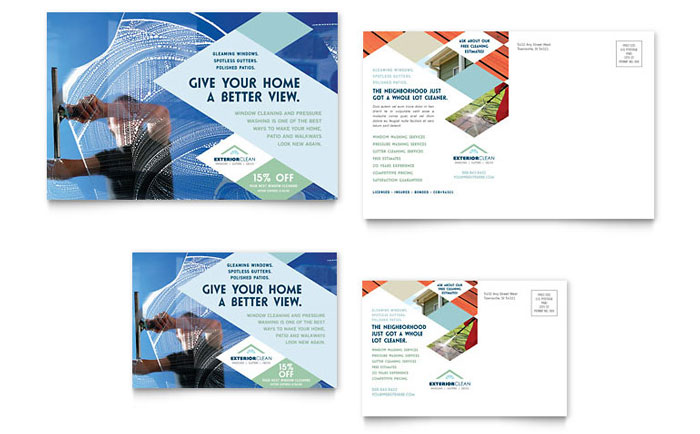 Window Cleaning amp Pressure Washing Postcard Template Design