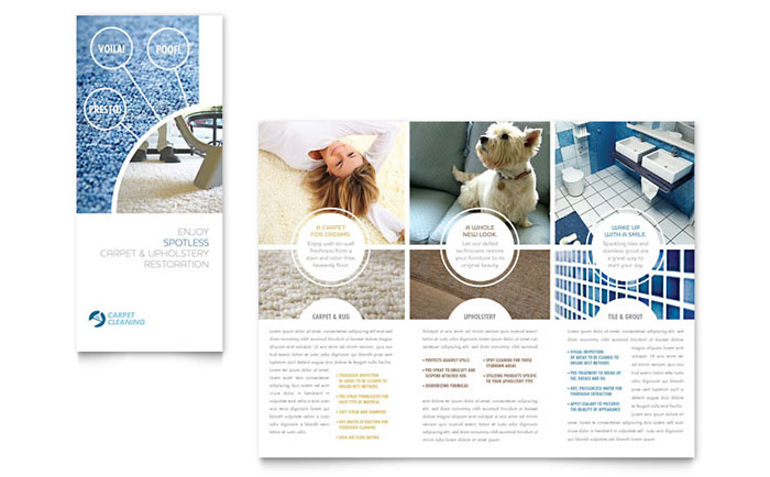 Carpet cleaners tri fold brochure template design for Commercial cleaning brochure templates