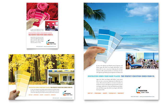 house painting contractor flyer  u0026 ad template design