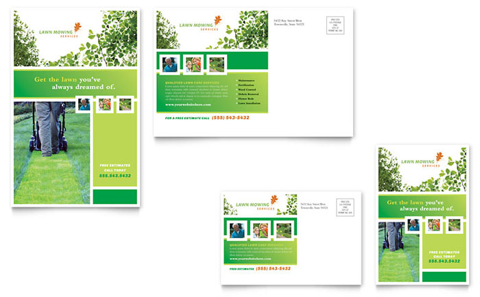 6x4 postcard template - lawn mowing service postcard template design