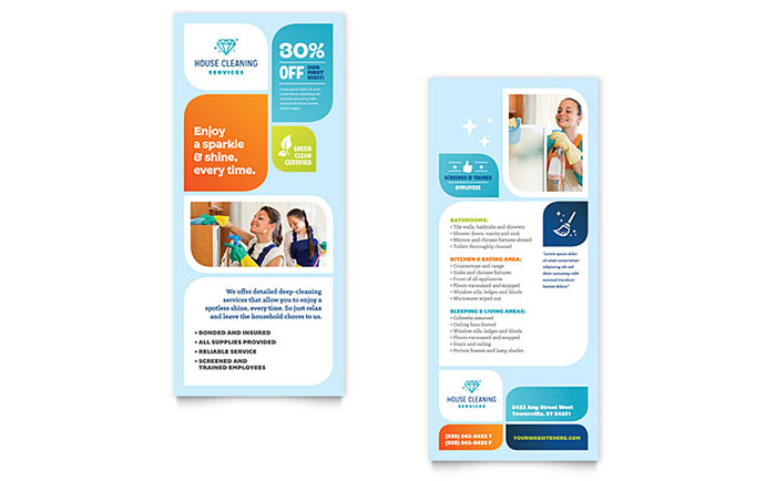 Cleaning services rack card template design for Rack card template for word