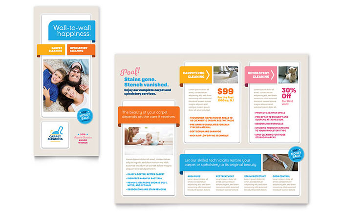 Carpet cleaning brochure template design for Product brochure template word