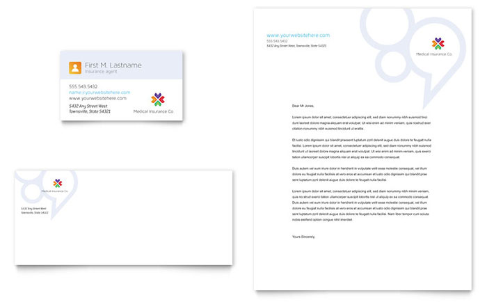 Medical Insurance Business Card & Letterhead Template Design