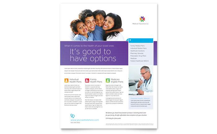 medical insurance flyer template design