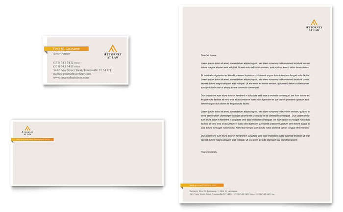 Legal Advocacy Business Card & Letterhead Template Design