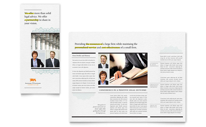 legal brochure template - attorney tri fold brochure template design